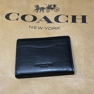 Coach Black Smooth Magnetic Card Case Wallet